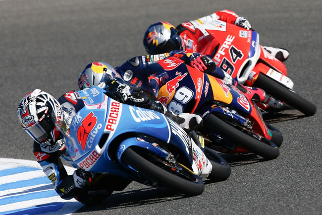 Maverick Vinales took a narrow Moto3 class win in Spain. Image: MotoGP.com