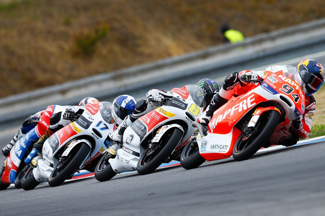 Aussie Jack Miller locked in battle within the Moto3 ranks. Image: MotoGP.com.