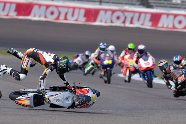 Aussie Jack Miller sustained a fractured right collarbone when he high-sided in the Moto3 race. Image: MotoGP.com.