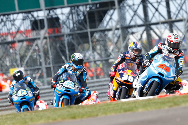 Moto3 saw a battle of four - Alex Rins, Alex Marquez, Luis Salom and Maverick Vinales. Image: MotoGP.com.
