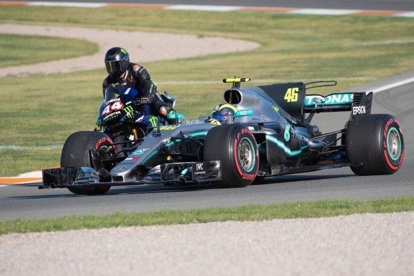 F1 champion Hamilton tests Rossi's Yamaha YZR-M1 in unique 'ride swap'